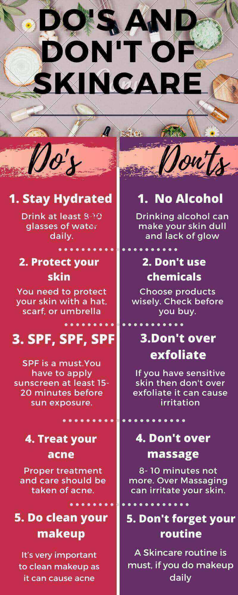 Do's and Don'ts of skincare