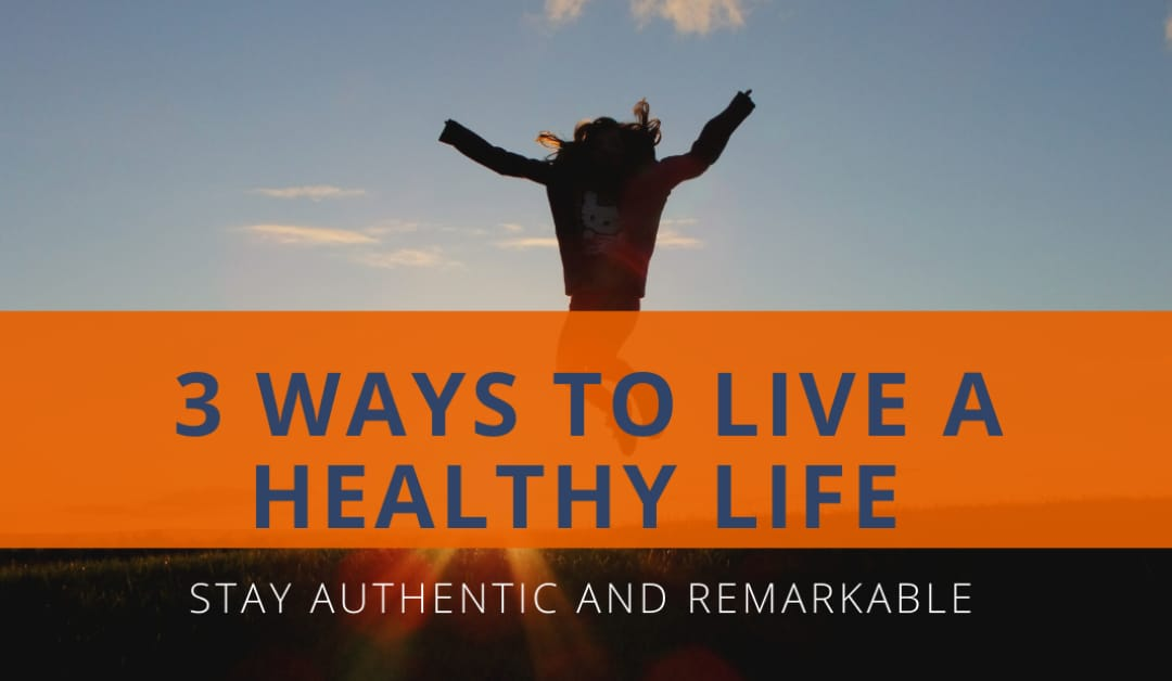 3 ways to live a healthy lif written on a image in orange background