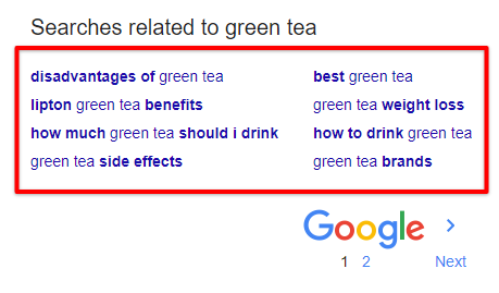 searches related to green tea - google search page