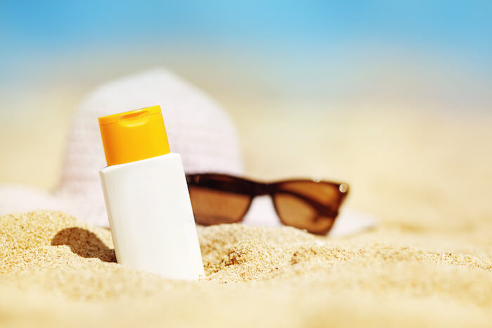 SPF cream bottle for sun protection