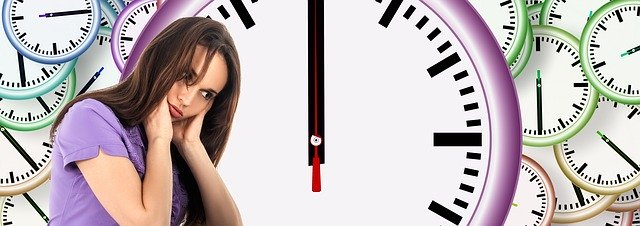 this is the first image of this article of the time management.girl is shocked and hold her head and n background there is an clock around her