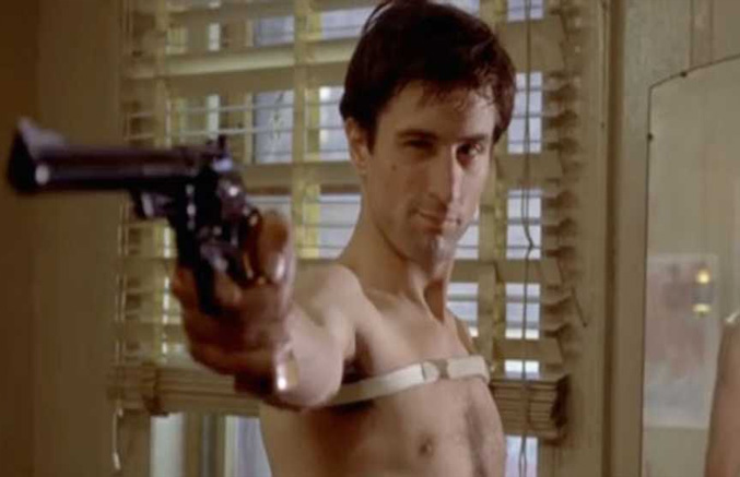 Taxi Driver scene where travis take post with gun in-front of mirror