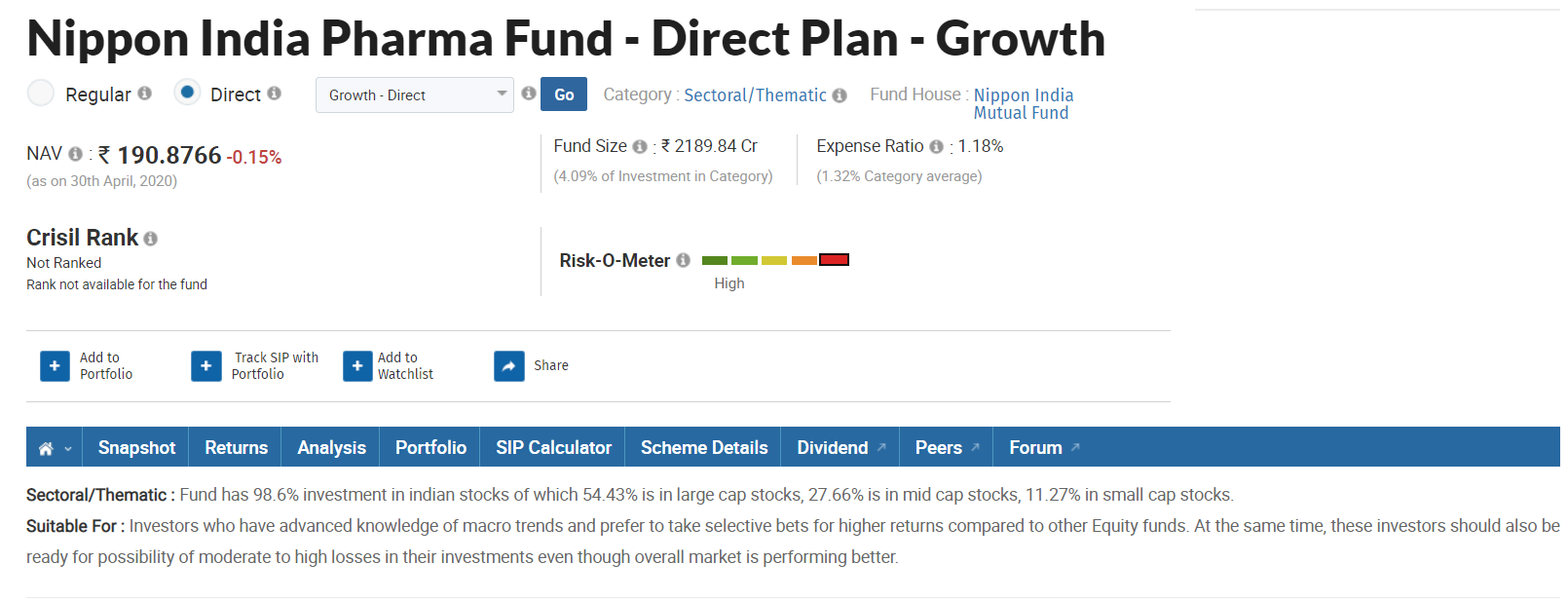 Given the example of sector fund which belongs to pharma sector.