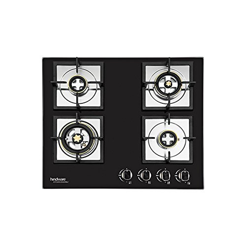 Image of Hindware Flora Plus Stainless Steel 4 Burner Gas Stove, Black colour